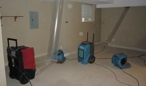 Air Movers and Dehumidifiers At Mold and Water Damage Removal Job